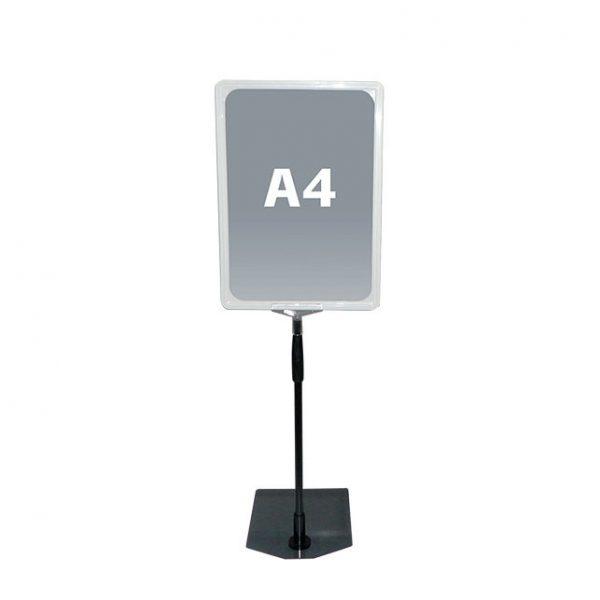 Hvit A4 prisskilt / plakatramme, med justerbar fot Displayhuset