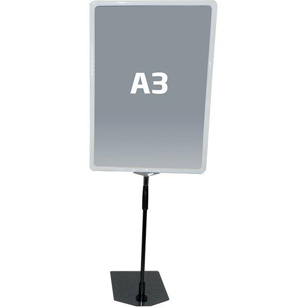 Hvit A3 prisskilt / plakatramme, med justerbar fot Displayhuset