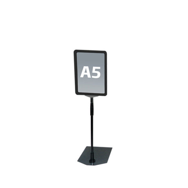 Svart A5 prisskilt / plakatramme, med justerbar fot Displayhuset