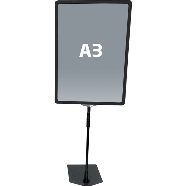 Svart A3 prisskilt / plakatramme, med justerbar fot Displayhuset