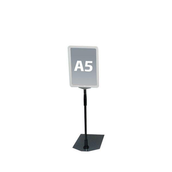 Hvit A5 prisskilt / plakatramme, med justerbar fot Displayhuset