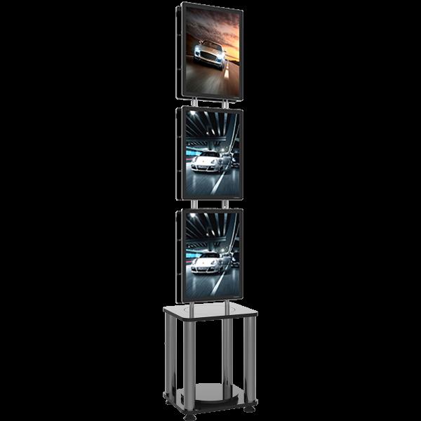 Demobrukt plakatstativ, med 3 stk. nye A3 LED plakatrammer (1-sidet) Displayhuset